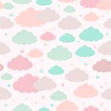 Childish seamless background with clouds and stars. Childish seamless pattern with clouds and stars. Vector background for design royalty free illustration