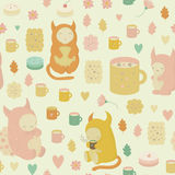 Childish seamless background with monsters in vector Royalty Free Stock Images