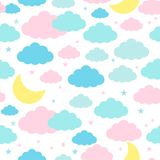 Childish seamless background with moon clouds and stars Stock Image