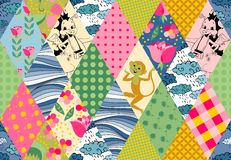 Childish seamless patchwork pattern with cute monkey, dragons, flowers, clouds and waves. Royalty Free Stock Photo