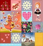 Childish seamless patchwork pattern with fairy dragon, princess and castle. Colorful patches with teacup, flowers and hearts. Cute vector illustration of quilt Stock Photos