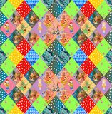 Childish seamless patchwork pattern. Fairy quilting design. For kids Royalty Free Stock Images