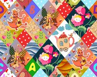 Childish seamless patchwork pattern Royalty Free Stock Images
