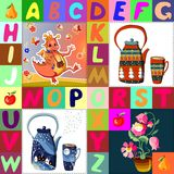 Childish seamless patchwork pattern with fantasy pictures and  alphabet. Childish seamless patchwork pattern with fantasy dragon, flower fairy, teapots and Stock Images