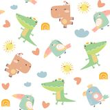 Childish seamless pattern with birds and animals vector illustration