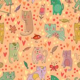 Childish seamless pattern with cats and fish in . Stock Photography