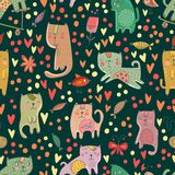 Childish seamless pattern with cats and fish in . Stock Photo