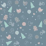 Childish seamless pattern for Christmas or Happy New Year  Royalty Free Stock Photo