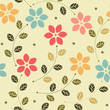 Childish seamless pattern with colorful flowers and leaves Stock Image