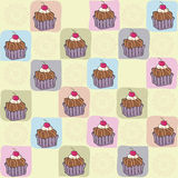 Childish seamless pattern with cupcakes Royalty Free Stock Images