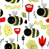 Childish Seamless Pattern with Cute Bumblebee. Hand Drawn Insect Background for Fabric, Print, Wrapping, Wallpaper. Vector illustration royalty free illustration