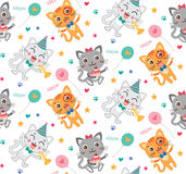 Childish Seamless Pattern With Cute Cats. Colorful Kids Background In Vector. Stock Images