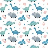 Childish seamless pattern with cute dinosaurs. Scandinavian style. Childish texture for fabric Royalty Free Stock Images