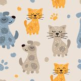 Childish seamless pattern with cute dogs and cats. Scandinavian style. Childish texture for fabric Stock Photos