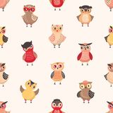 Childish seamless pattern with cute funny baby owls on light background. Backdrop with adorable owlets, smart forest stock illustration