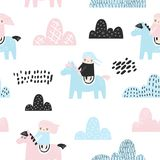 Childish Seamless Pattern with Cute Girls, Clouds and Pony. Creative Kids Background for Fabric, Textile, Wallpaper vector illustration