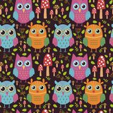 Childish seamless pattern with cute owls Stock Photo