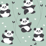 Childish seamless pattern with cute panda, hearts and plants Stock Photos