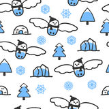 Childish seamless pattern with doodle snowy owl Stock Photo