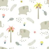Childish seamless pattern with funny elephants Royalty Free Stock Image