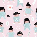 Childish Seamless Pattern with Girls in Pajamas stock illustration