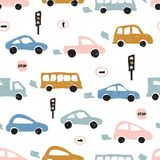 Childish seamless pattern with hand drawn cute car. Scandinavian style. Childish texture for fabric. Royalty Free Stock Photo