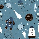 Childish seamless pattern with hand drawn space elements space, rocket, star, planet, space probe. Trendy kids vector background royalty free illustration