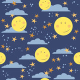 Childish seamless  pattern with moons Stock Photos