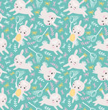 Childish seamless pattern with rabbits, butterflies and lawn. Vector illustration. Childish seamless pattern with rabbits, butterflies and lawn. Vector vector illustration