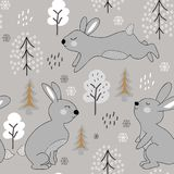 Childish seamless pattern with rabbits. winter design illustration for fabric,textile, wallpaper, clothes royalty free illustration
