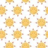 Childish seamless  pattern with suns Stock Image