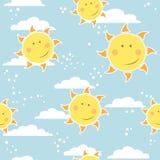 Childish seamless  pattern with suns Stock Photography