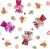 Childish seamless pattern with toy bears, dragons, birds, apples and hearts. Royalty Free Stock Images
