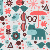 Childish seamless pattern with various elements Royalty Free Stock Photos