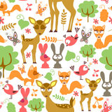 Childish seamless pattern with wild animals Stock Photos