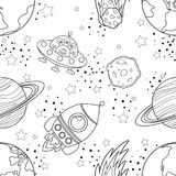 Childish seamless space pattern with planets, UFO. Rockets and stars. Black silhouette on white background. Vector illustration vector illustration