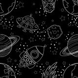 Childish seamless space pattern with planets, UFO, rockets and stars. White silhouette on black background. Vector illustration Stock Images