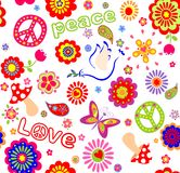 Childish seamless wallpaper with colorful abstract flowers, hippie symbolic, mushrooms and dove Royalty Free Stock Image