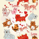 Childish seamless wallpaper pattern with cute and funny cats stock illustration
