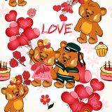 Childish seamless wallpaper pattern with red hearts and toy bear Royalty Free Stock Photography