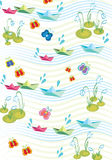 Childish spring background with paperships stock illustration