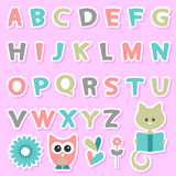 Childish stickers set with alphabet Stock Photography