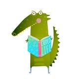 Childish Student Crocodile Reading Book and Study Royalty Free Stock Photo