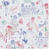 Childish style hand drawn seamless pattern Royalty Free Stock Photography