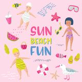 Childish Summer Beach Vacation Card with Kids, Fish and Birds. Cute Background with Sea Creatures for Decor, Greetings. Postcard, Poster. Vector illustration Royalty Free Stock Image