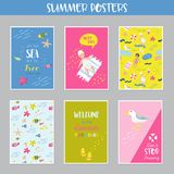 Childish Summer Beach Vacation Cards with Kids, Fish and Birds. Cute Backgrounds with Sea Creatures for Decor, Greetings. Postcards, Posters, Banners. Vector Stock Images