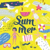 Childish Summer Beach Vacation Design with Kids, Fish and Bird. Cute Background for Decor, Covers. Vector illustration Royalty Free Stock Photos