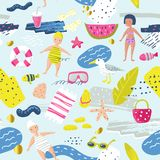 Childish Summer Beach Vacation Seamless Pattern with Kids, Fish and Bird. Cute Background for Fabric, Decor, Wallpaper. Wrapping Paper. Vector illustration Royalty Free Stock Photo