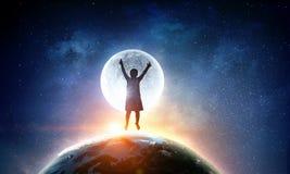 Childish sweet dreams . Mixed media Royalty Free Stock Photos