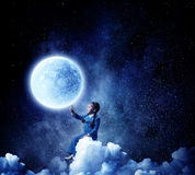 Childish sweet dreams . Mixed media Stock Photography